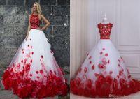 3d spitze abendkleid großhandel-Rote und weiße Ballkleid Ballkleider Zwei Stücke New Günstige Jewel Neck Lace Applique 3D Blumen Blumen Tüll Lange Abend Abendkleid