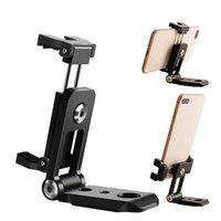 samsung için tripod toptan satış-Katlanır Dikey 360 ° Tripod Telefon Montaj Adaptörü 2 Soğuk Ayakkabı ile Montaj iphone X 8 7 Artı Samsung S8 S7