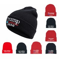 Wholesale american beanies resale online - Fashion Trump Knitted Hat Outdoor Warm Winter Letter Embroidered Elastic Beanie Hat Keep American Great Again Cap TTA1376