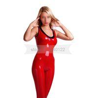 ingrosso gomma su misura-Collo in strisce rosse e nere senza maniche in lattice donna catsuit senza zip in gomma tuta fatta a mano plus size su misura BNLC074 sexy