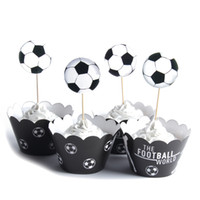 fiesta de fútbol infantil al por mayor-24pcs / lot The Football World Paper Cupcake Wrappers Toppers para niños Party Birthday Decoration Cake Cups (12 envolturas + 12 topp