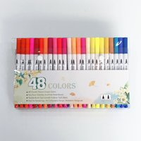 gel de menta al por mayor-48 colores Arte Marcadores Set Consejos dual para colorear cepillo Fineliner color rotuladores de bala Caligrafía Dibujo de bocetos Coloring Book