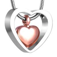 ожерелье оптовых-Xwj8078 сердце связано с сердцем мемориальные урны ожерелье человека / домашних животных пепел шкатулка цепи кремации кулон ювелирные изделия из нержавеющей стали