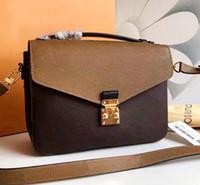 klassische design-handtasche großhandel-Echtes Leder Taschen klassische 25cm Umhängetasche Frauen aus echtem Leder Handtasche Luxus-Design ikonischen Tasche Umhängetaschen Lady Casual Tote Metis