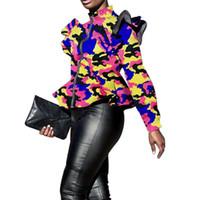 ingrosso giacca collare con colletto-Giacca donna vintage stampata camouflage giacca casual collo collare da donna manica lunga elegante giacca con volant ricamati