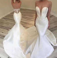 Wholesale inbal dror bead for sale - Group buy Inbal Dror Spring beach white Lace stain Mermaid Wedding Dresses beaded detail Sweetheart Backless Trumpet Wedding Gowns custom made