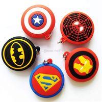batman zincirleri toptan satış-Avengers Kolye Superman Batman Kaptan Amerika Deadpool Spider-Man Süper Kahraman Kauçuk Anahtar zincirleri Anahtarlık çocuk oyuncakları Noel hediyesi