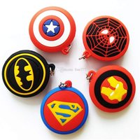 cadenas de batman al por mayor-The Avengers Colgante Superman Batman Capitán América Deadpool Spider-Man Superhéroe Caucho Llaveros Llavero juguetes para niños regalo de Navidad