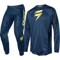 mavi etiket toptan satış-2019 Safir mavi Etiket Shift DIRT BIKE Jersey Ve Pantolon Motocross Kitleri sıcak MX kostüm Moto Combo L