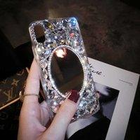 espelho de strass para telefones venda por atacado-Para iphone x phone case makedup espelho phone case criativo luxo strass case com espelho macio borda shell suporte 2 pcs entrega
