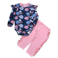Wholesale baby girl outfits hot pink for sale - Group buy Hot Sale Fashion FLY SLEEVED Baby Clothes Flowers Printed Romper Solid Pink Pants Kids Cotton Suits Outfits
