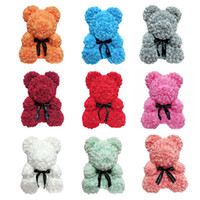Wholesale valentines day teddy bear gift resale online - Rose Bear Flower Dolls Artificial Toy Birthday Christmas Gifts for Girfriend Valentine Muilty color cm Gift Box or Opp bag