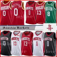 basketbol forması james toptan satış-Erkekler Rockets Russell 0 Westbrook forması James 13 Harden Houston Basketbol forması Kemba 8 Walker NCAA formaları