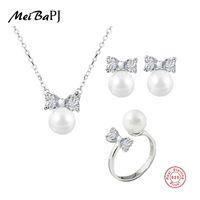 anel de gravata de prata venda por atacado-MeiBaPJ 925 Sterling Silver Bow Tie Suit Genuine Nearround água doce Colar / Pearl Brincos / Anel Conjunto de jóias para as mulheres