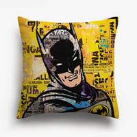 Wholesale pop art pillows cases resale online - American Retro Vintage POP Art SUPER HERO Cushion Covers Superman Wonder Woman Cushion Cover Bedroom Sofa Linen Cotton Pillow Case