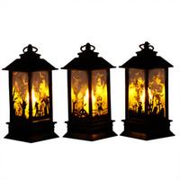 ingrosso luci per zucche di halloween-Halloween Vintage Pumpkin Castle Light Lamp partito appeso lanterna LED appeso lanterna Home Bar Deocr parti per feste