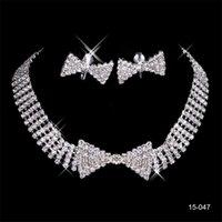 noiva jóia venda por atacado-Barato 15047 Conjuntos de Casamento Acessórios Para Noivas Jóia Colar e Brinco Set Partido Jóias para a Festa de Casamento Da Noiva