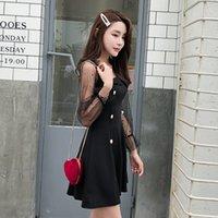 vestido mini mangas abullonadas negro al por mayor-Moda Negro Mini vestido con paneles Una línea de vestidos de la plaza de cuello Puff manga vestido de manga larga Nueva otoño vestidos de las mujeres Z2042