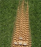 ingrosso colore dei capelli 27 bionda di fragole-# 27 Strawberry Blonde Color 10-30 pollici Malese Clip nelle estensioni dei capelli 6a Capelli ricci non trattati che tessono il tessuto 100% dei capelli umani
