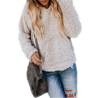 jaqueta de moletom com capuz de caxemira feminina venda por atacado-Mulheres Sherpa Moletom Com Capuz Camisola de Lã Pullover Tops Cashmere Moda Camisolas Outwear Outono Inverno Casaco Quente Streetwear S-2XL C91106