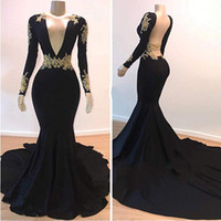 Wholesale plus size sleeveless for sale - Fashion Deep V Neck Mermaid Prom Dresses Pageant Backless Satin African Gold Applique Evening Vestido de noche Formal Long Party Gowns