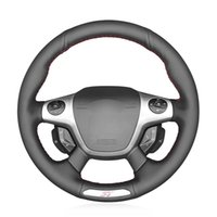 Wholesale ford steering wheel covers for sale - Group buy MEWANT Black Artificial Leather Hand stitched Car Steering Wheel Cover for Ford Focus ST
