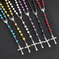 cadena de collar de rosario de acero inoxidable al por mayor-Cadena larga Rosario Cruz collares pendientes de perlas de imitación de joyería de acero inoxidable borla larga cristiana para las mujeres de moda