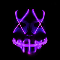 Wholesale ghost night light resale online - LED glow mask Halloween mask ghost crack light EL line fashion clothing party ball mask Red Blue Green Pink Yellow Orange Purple