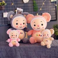 doldurulmuş fareler toptan satış-Fare Doldurulmuş oyuncak hayvanlar karikatür Hamster peluş oyuncaklar dolması bebek Kawaii hayvanlar Doll Çocuk oyuncakları Noel hediyeleri KKA7515 dolması
