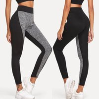 Wholesale hot new female trousers for sale - Group buy Fashion High Elastic Waist Patchwork Yoga Pants For Women Slim Leggings Sport Gym Skinny Trousers Female New Hot Sale