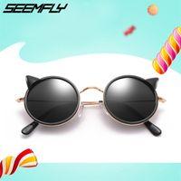 frames dos vidros dos desenhos animados dos miúdos venda por atacado-Seemfly óculos de sol das crianças dos desenhos animados orelhas de gato óculos de sol retro meninos meninas redondos armação de óculos de sol ao ar livre crianças uv400 shades 1 pc
