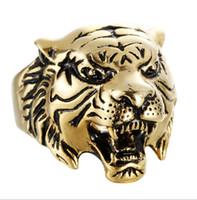 männer tiger ringe großhandel-Tiger Head Mens Rings - Edelstahl Verlobungsringe für Männer - (US-Größe 8-13) Punk Cool HipHop Animal Designer Ring Schmuck 3 Farben