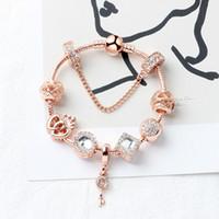 Magic Beads rose Gold Strands bracelet 925 Silver Pandora Love Key pendant as a Diy jewelry gift