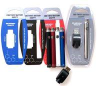 batterie de torsion d'ego achat en gros de-Blister Pack 350VV préchauffer la batterie 350mAh Kit de cartouche Twist Bottom Pen Vape Pen Tension Variable Ego Spinner Batterie avec chargeur USB