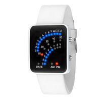 relojes de estilo japonés al por mayor-Para mujer para hombre del reloj futurista único estilo japonés correa de silicona de la aleación del dial del rectángulo reloj de pulsera masculino deporte LED Digital