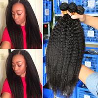 Wholesale yaki perm human hair online - Kinky Straight Hair Brazilian Virgin Hair Weave Bundles Coarse Yaki Human Hair Bundles Dolago Peruvian Kinky Straight Extensions