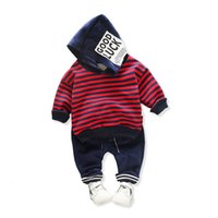 Wholesale infant linens for sale - Group buy Autumn Winter Toddler Boys Clothing Baby Infant Clothes Suits Striped Plush Hooded T shirt Pants Sets Kids Children Costume