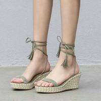 зеленые клиновидные пятки оптовых-Женские сандалии на танкетке Женская обувь на высоком каблуке на платформе Sandalias Mujer Green Lace Up 2019 Женская обувь
