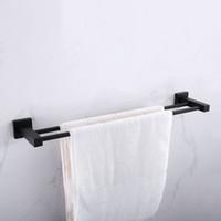barra de toalla de montaje en pared al por mayor-Accesorios de baño Barra de barra de rieles de toalla montada en la pared de acero inoxidable cuadrado negro mate Barra de barra 1 bar / 2