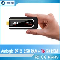 tv андроиды палочки оптовых-H96 Pro H2 4k Mini TV Stick Octa Core Amlogic S912 DDR3 2 ГБ ПЗУ 16 ГБ Android 7.1 2.4G Wi-Fi HD2.0 Смарт Android TV Box Медиа-плеер MQ10
