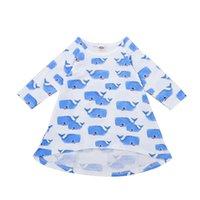 ingrosso i vestiti delle immagini del fumetto-Vestito dalla ragazza Fumetto Whale Baby Print Skirt Abbigliamento per bambini Maniche lunghe Gonna infantile Bambino Cartoon Immagini 11
