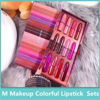 Wholesale bright lipstick sets resale online - 2019 Famous Rainbow Lipstick Set Super High Value Piece Set Bullet Bright Lipstick Set High Quality Cosmetics