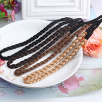 Wholesale braided plaited hair band for sale - Group buy New Hair Accessories Simulation Synthetic Hair Plaited Headband Elastic Hair Band Braided Headwear scrunchy Headband