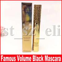 rimel falso efecto pestañas impermeable al por mayor-Famoso maquillaje de ojos Mascara Volumen Negro Fibra impermeable Pestañas Mascara lujosa Para un efecto de pestañas falsas
