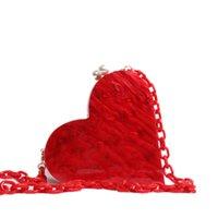 schöne abendtaschen großhandel-Herzförmige Acryl Clutch Perle Party Frauen Abendtaschen Handtasche Desinger Hochzeit Schöne Kette Umhängetasche Acryl Kette