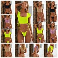 2ab9cfa2b6 2019 European fashion hot sexy swimsuit, solid color half sleeve sports  ladies sexy bikini, support mixed batch