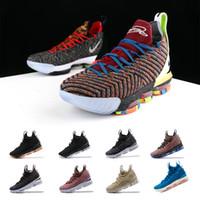 purchase cheap b7021 034d4 2019 New Lebron 15 Mens Basketball-Schuhe James What the Lebron 16  Mehrfarbig Durch Oreo FRISCHE BRED Sportschuhe Sneaker LBJ Lebrons