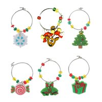 Wholesale charms wine glasses for sale - Group buy 6pcs Gift Mixed Enamel Metal Fit Jewelry Ornaments Wine Charms Glass Christmas PVC Pendant Table Decorations Cup Soft