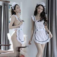 yeni gece iç çamaşırı toptan satış-2019 popüler tarzı uzun gece yeni stil seksi iç çamaşırı şeffaf baştan çıkarıcı iç çamaşırı hizmetçi elbise hizmetçi tek parça suit
