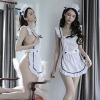 Wholesale women uniform style resale online - 2019 popular style long night new style sexy lingerie transparent seductive underwear maid dress maid one piece suit